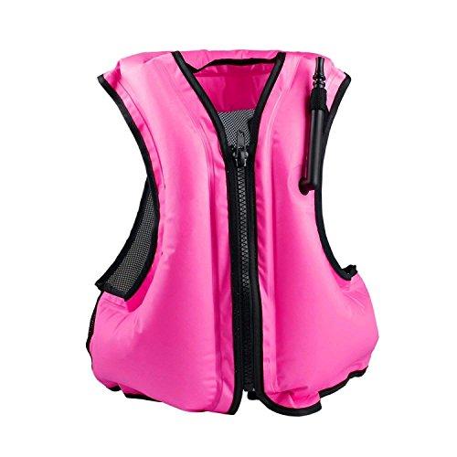 Rrtizan Aufblasbare Schwimmweste Rettungswesten Festtoffweste ideal Für Erwachsene für den Wassersport, Auftriebshilfe, Rosa