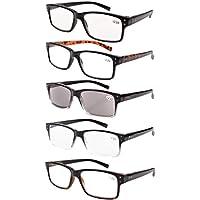 caeaf91331d Eyekepper 5-Pack Spring Hinges Vintage Reading Glasses Men Includes Sunshine  Readers +1.50