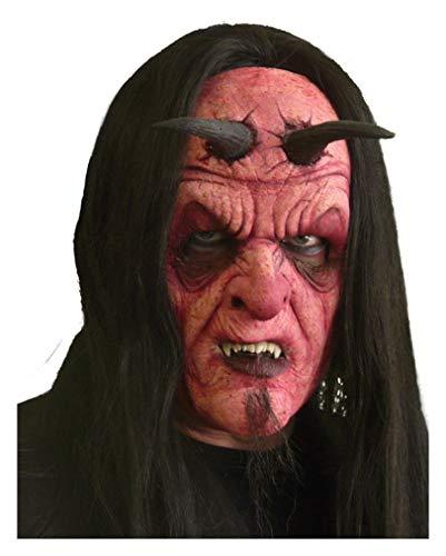 Horror-Shop Gehörnte Teufelsmaske aus Schaumlatex (Gehörnte Brille Kostüm)