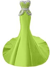 Wecharm Damen Glamour Stein Herzform Meerjungfrau Satin Abendkleider Lang  Ballkleider Partykleider ca605a370d