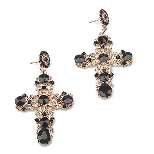 Pendientes largos forma cruz Kercisbeauty, diamantes