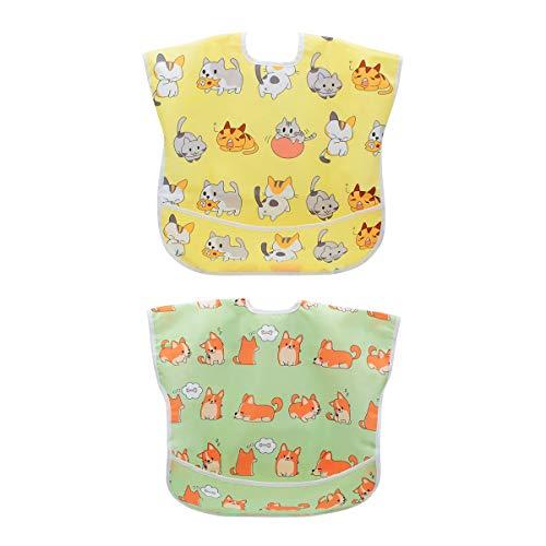 Ärmel-Lätzchen lang Baby Kleinkind Lätzchen Wasserdicht Kurzarm Lätzchen Fütterung Lätzchen Schürze mit eingebauten Tasche für Babys/Kleinkinder/Kleinkinder (Sleeveless Cat/Dog) - Zyklus Lange Ärmel