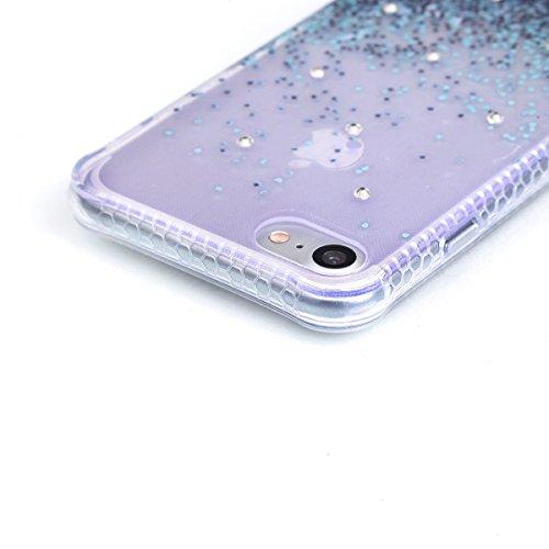 BONROY® Coque pour iPhone 7 (4,7 Zoll),Housse en cuir pour iPhone 7 (4,7 Zoll),imprimé étui en cuir PU Cuir Flip Magnétique Portefeuille Etui Housse de Protection Coque Étui Case Cover avec Stand Supp Bleu gravier