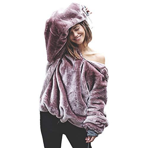 VECDY Damen Tops | Plüsch-Pullover | Kapuzenpulli | Hoodis | Sportpullover | Einfarbiger Pullover | Bluse | Lässiges Oberteil | Warme Jacke | Elegante Strickjacke | Herbst und Winter