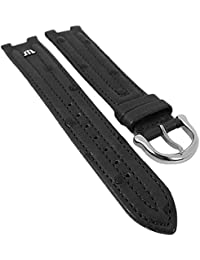 Maurice Lacroix für Calypso/Scala | Ersatzband Uhrenarmband Straußenleder schwarz matt 30037, Stegbreite:18mm, Schließe:Silbern