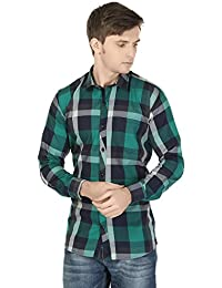 eoigE™ Green & Black Full Sleeves Men's Shirt