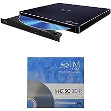LG 6x wp50nb40Ultra Slim Portable Grabadora de Blu-ray M-Disc de paquete con 3Pack BD–Soporta M-Disc y BDXL discos, Mac OS X compatible (negro, al por menor)