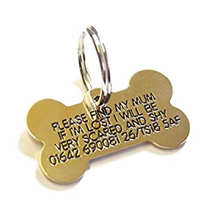 Deeply engraved solid brass bone shaped dog tag