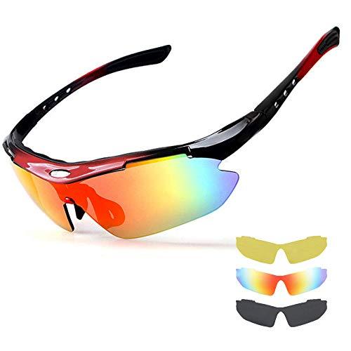 NEWROAD Radsportbrillen Brille Fahrradbrille Mit 3 Austauschbaren Klaren Gläsern UV 400 Polarisierte Sport-Sonnenbrille Superleichter Rahmen All Outdoor Angeln Fahren Sportbrille Damen & Herren