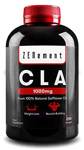CLA - Ácido Linoleico Conjugado | 1000mg x 200 perlas | Pérdida de peso, Crecimiento Muscular | Aceite Vegetal de Cártamo 100% Natural, sin gluten, sin transgénicos