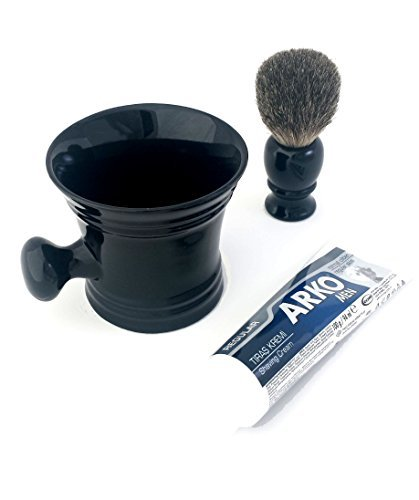 100% Pure Badger Hair Shaving Brush with Ceramic Apothecary Mug and Arko Cream by Shaving Factory