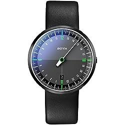 Botta-Design UNO 24 NEO Armbanduhr, Black Edition - 24H Einzeigeruhr, Edelstahl, Saphirglas Antireflex, Lederband