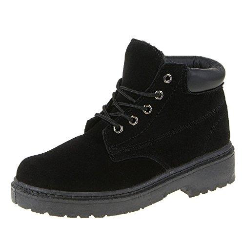 Ital-Design Schnürboots Damen Leder Schuhe Combat Boots Blockabsatz Warm Gefütterte Schnürsenkel Stiefeletten Schwarz