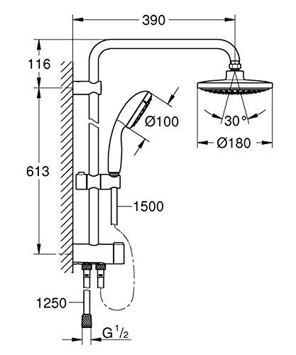 Grohe – Tempesta Flex 180 Duschsystem mit Umstellung, Chrom - 2