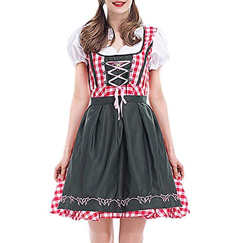 Sannysis Dirndl Oktoberfest Trachtenkleid Damen Traditionelle Kostüm-Set Halloween Karneval Bayerische Taverne Bar Maid Party Cosplay Fasching (XL, Rot)