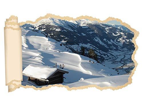 3D Wandtattoo Landschaft Berg Alpen Schnee Ski Tapete Wand Aufkleber Wanddurchbruch Deko Wandbild Wandsticker 11N1232, Wandbild Größe F:ca. 162cmx97cm