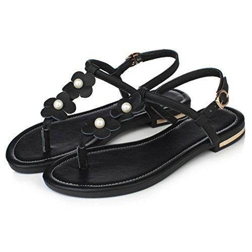 RizaBina Femmes Mode Plates Clip Toe Slingback Fleur Sandales De Boucle Noir