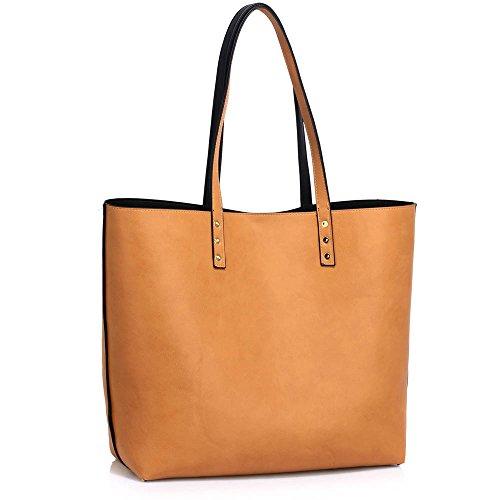 Damen Tote Handtaschen Damen Oben Griff Handtasche Reversibel Tragetasche Mit Oben Griff Und Öffnen Schließung A - Schwarz/Nude