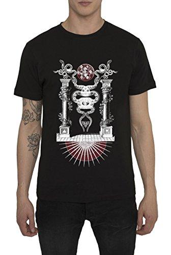 Maglietta Moda da Uomo, T Shirt Stile Vintage Rock, Maglia Nera di Cotone con Stampa DARK PARADISE T-Shirt Cool Urban Fashion Gothic Metal Design, Magliette con Manica Corta e Girocollo, S M L XL XXL