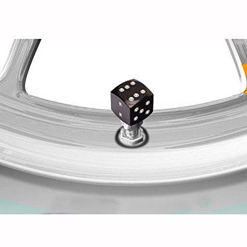 Reifen Ventilkappen Dice Reifenventilkappen Würfel Ventilkappen Universal-Würfel Ventilkappen schwarze Gummireifen-Luftventilkappen Auto-Kofferraum Felgen Zubehör 4pcs / set