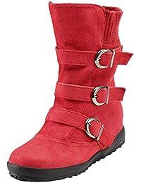 Amcool Damen Schlupf Stiefeletten Flach Stiefel Warm Wildleder Boots  Schneestiefel 693ed28d16