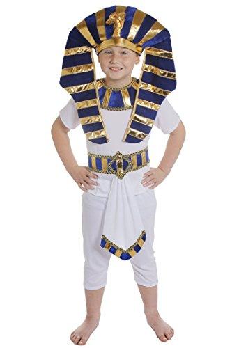 Imagen de disfraz de faraón egipcio para niño camiseta blanca, pantalón, cinturón azul, dorado y blanco con adorno y accesorio para la cabeza a juego, tallas s xl, de 4 a 14 años