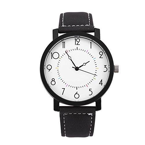 Reloj Redondo de Moda y Simple con la Caja de la Aleación de la Correa de la PU Reloj Grande del Dial...