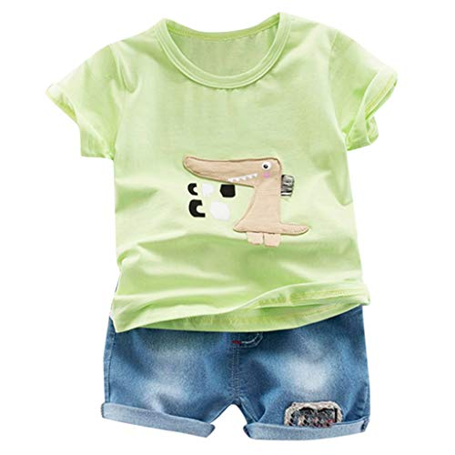 JUTOO 2 Stücke Set Kleinkind Kinder Baby Jungen Cartoon Print T-Shirt Tops + Jeans Kurze Outfits Sets (Grün,80)