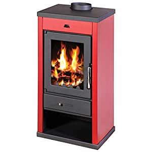 Estufa de leña 12 – 17 kW chimenea Top Flue colores laterales BlmSchV1 color rojo