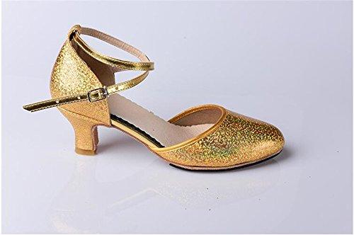 SQIAO-X- Scarpe Da Ballo, Adulti Pavimento In Gomma A Bassa Lombarda Punta Sulla Danza Danza Square Dance Latina Scarpe Da Danza L'Oro