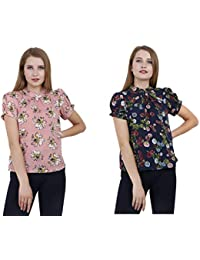 A Thousand Things Women's Pink and Blue Floral Top – Pack of 2