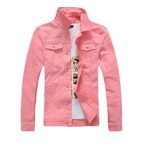 CuteRose Men Buttoned Loose Fit Casual Pockets Vintage Wash Bomber Jean Jacket Pink XL Medium Wash Denim Vest