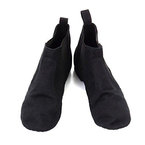 Wgwioo Little Kid Lace-Up Schuhe Mädchen Segeltuch Jazz Tanz Stiefel Elastische Moderne Lace-Up Bühne Ballett Tanz Schuhe Boot Soft Sohle Für Männer Frauen , Black , 37
