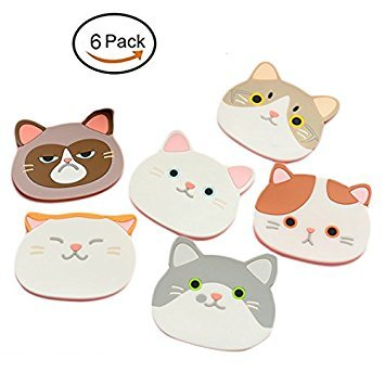 Cat Cup Silicone Coaster Mug - Rubber Mat for Wine, Glass, Tea- Best Housewarming Beverage, Drink, Beer- Home House Kitchen Decor - Wedding Registry Gift