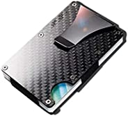 Carbon fiber Credit card holder with metal Money clip - RFID Blocking slim Metal Wallet purse for Men & Wo