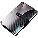 Carbon fiber Credit card holder with metal Money clip - RFID Blocking slim Metal Wallet purse for Men & Women (Carbon fiber B