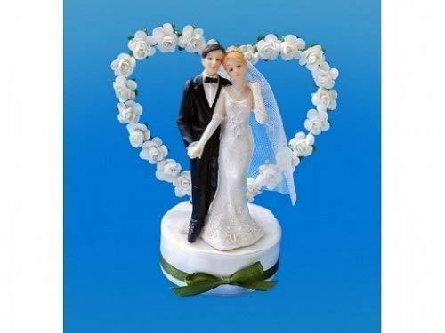 Tortenfigur Tischfigur Hochzeit Brautpaar mit Rosen-Herz für die Hochzeit