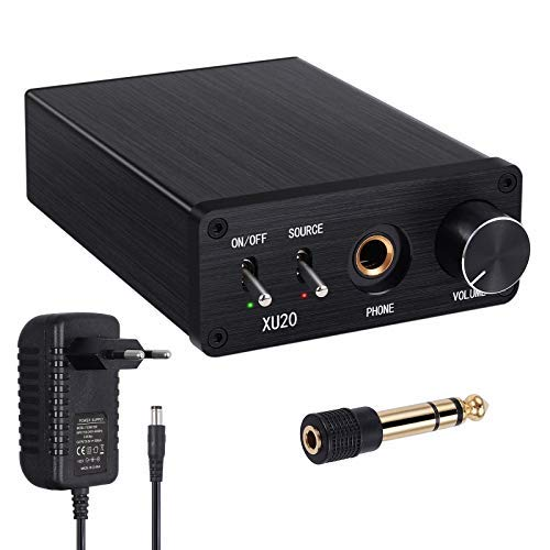 192kHz DAC Konverter mit Kopfhörerverstärker Digital zu Analog Audio Converter Koaxial SPDIF Toslink zu Analog Stereo L/ R RCA Cinch 6,35 mm Klinke Audio Adapter Unterstützung PCM/ LPCM 2.0CH