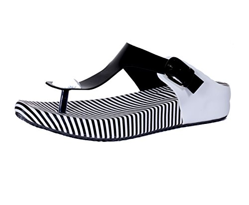 Indistar Womens Fashionable & Stylish Party Wear Casual and Formal Flats/Flip Flop for Women-Black-Size-10