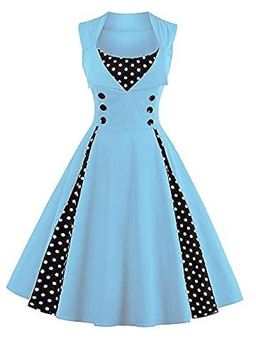 Minetom Femmes des Années 50 Elégantes Polka Dots Robe avec Boutons Vintage Rockabilly Swing Cocktail Party Robe Bleu clair FR 38