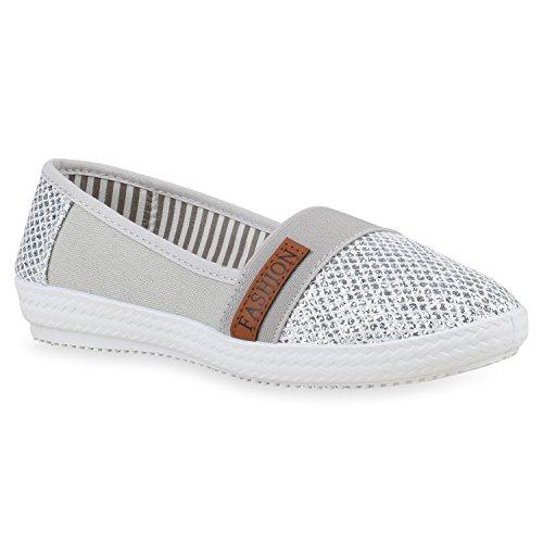Damen Slippers Slip Ons Glitzer Freizeit Schuhe Flats Turnschuhe 156265 Silber 38 Flandell
