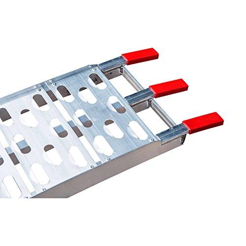 Homcom Rampe de Chargement Pliable pour Tous Les Motos, Quad Aluminium Argent