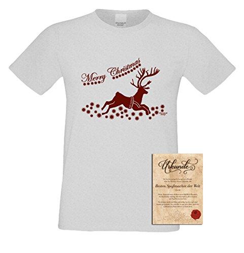 Weihnachts Motiv Fun T-Shirt Merry Christmas Renntier als cooles Weihnachtsgeschenk oder Weihnachtsmarkt Advents Party Outfit Geschenk Idee mit Spass-Urkunde Farbe: grau Grau