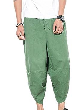 Pantalones cortos de la pierna ancha del hippie de la moda de los hombres, pantalones ocasionales del harem de...