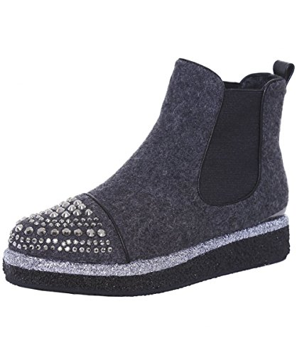 Alma en Pena Damen Franella Chelsea Boots Grau Grau