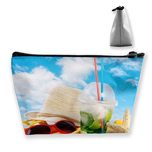Getränke Handtuch Mojito Beach Sand Hut Brille Kosmetik Make-up Tasche/Pouch/Clutch Reisetasche Organizer Aufbewahrungstasche