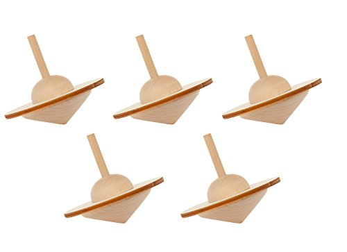 Holzkreisel rund 5er Set, 5 Kreisel aus Holz, Bausatz Kreisel
