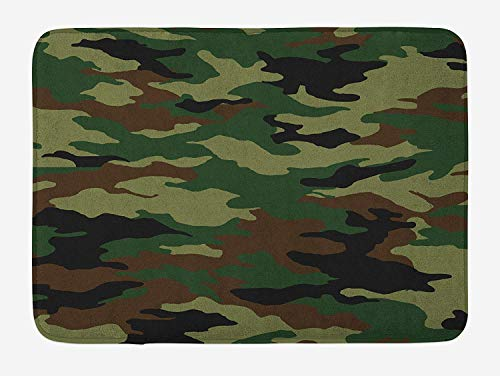 Casepillows Camo Bath Mat, Fashionable Graphic Uniform Inspired Camouflage Clothing Design, Plush Bathroom Decor Mat with Non Slip Backing, 23.6 x 15.7 Inches, Forest Green Pale Green Brown (A Bathing Ape Clothing)