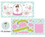 CardWheels 12 Einladungskarten Ballerina + 13 Sticker Gratis - Mädchen Party Einladung Tanzen
