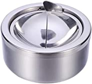 Garneck Windproof Ashtray Stainless Steel Tabletop Cigarette Cigar Ashtray Round Ash Holder for Home Office